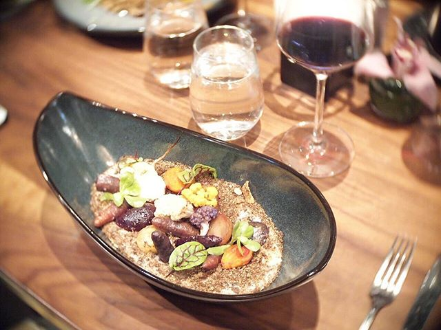 """First dine out of the year!! @notch8restaurant & bar Wintry Field (vegetarian) - Winter Roots and Greens, Milled Grains-Oats-Corn Grit Polenta, Blue Juliet, Pumpernickel Crumb, Goat Cheese """"Snow"""" Pretty garden on the table!!"""